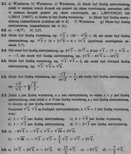 Liczby niewymierne – odpowiedzi