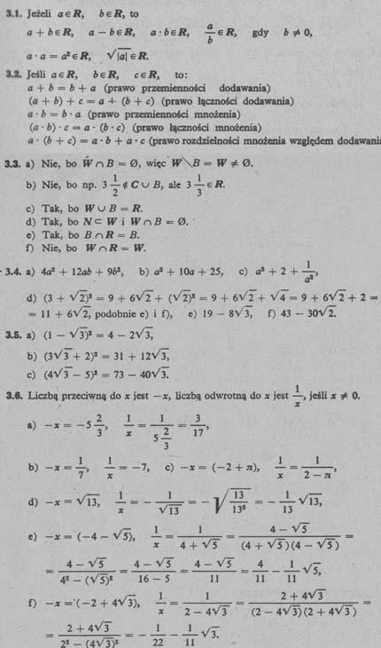 Liczby rzeczywiste – odpowiedzi 1